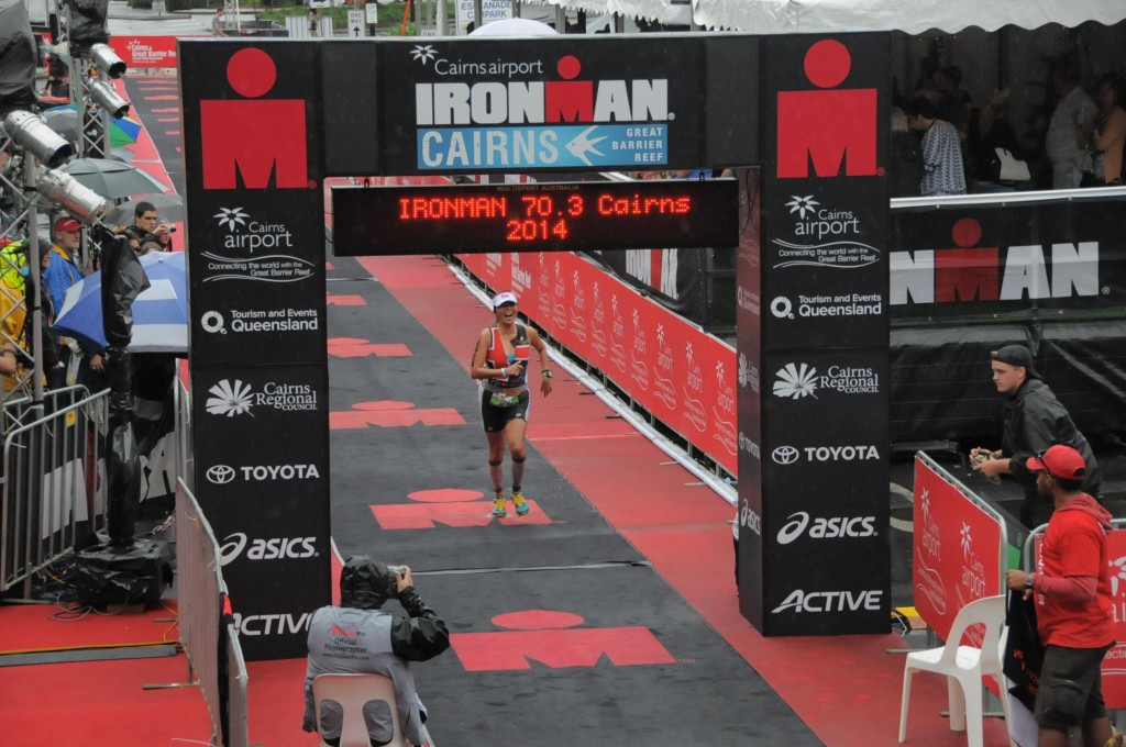 Finish line shot at Cairns 70.3 2014