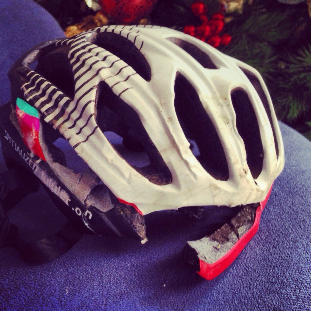 I only saw my helmet a day after the accident.  Coach hid it from so I will not panic.  She was right!