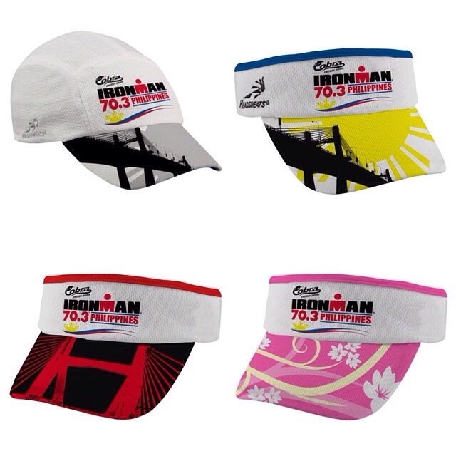 Some of the souvenir visors we designed for this year's Cobra 70.3